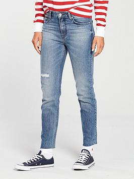 Tommy Jeans High Rise Slim Izzy Crop Jean - Mid Blue