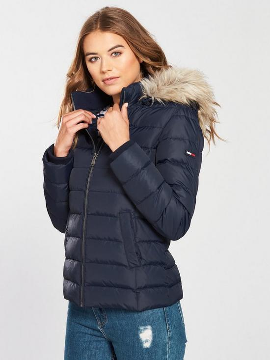 22acc8b3 Tommy Jeans Essential Hooded Down Coat - Navy | very.co.uk