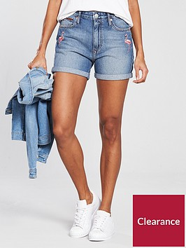 tommy-jeans-relaxed-denim-shorts-withnbspflamingo-embroidery-mid-blue