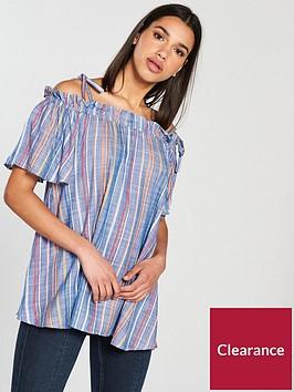 river-island-stripe-bardot-blouse--blue