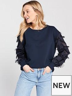 river-island-fringe-sleeve-sweater--navy