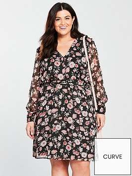 v-by-very-curve-printed-woven-tea-dress