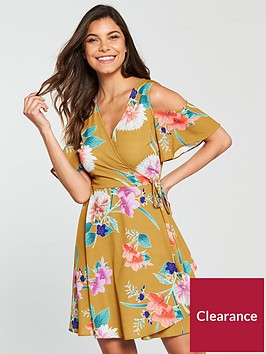 v-by-very-tropical-print-cold-shoulder-wrap-dress-yellow