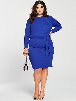 v by very curve jersey crepe pencil dress - electric blue