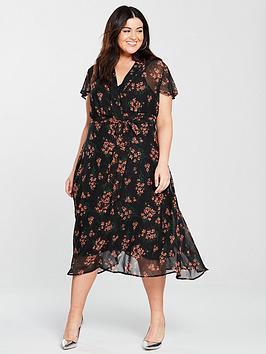 v by very curve tie waist midi dress