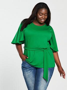 V By Very Curve Belted Kimono Sleeve Top - Green