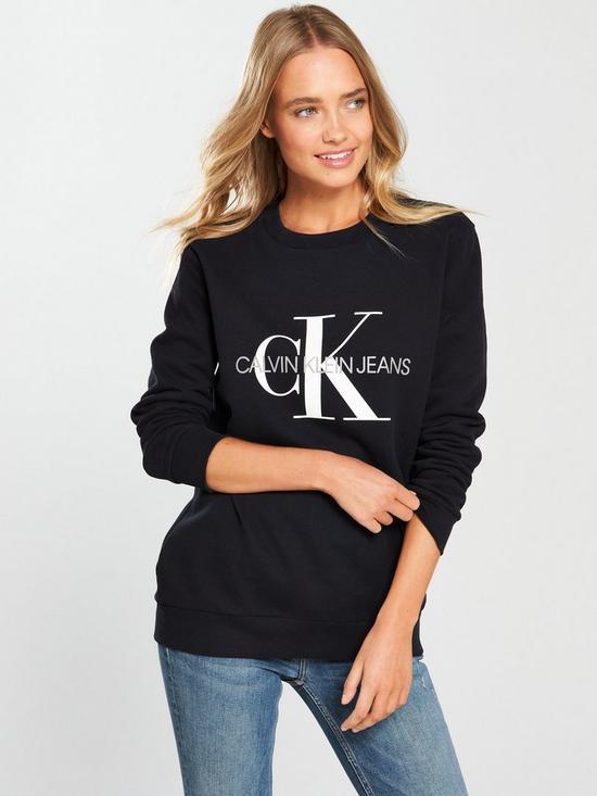 6304a71a32ca Calvin Klein Jeans Monogram Logo Sweat - CK Black