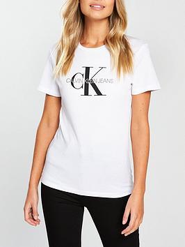 Calvin Klein Jeans Monogram Logo T-Shirt - Bright White   very.co.uk ee3cb9c7fc