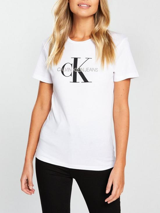 74cb873bede9 Calvin Klein Jeans Monogram Logo T-Shirt - Bright White | very.co.uk