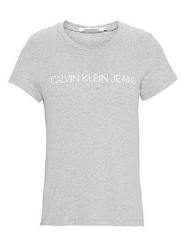 Calvin Klein Jeans Institutional Logo Slim Fit T-Shirt - Light Heather Grey
