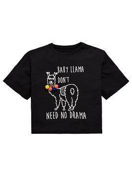 v-by-very-girls-pom-pom-llama-t-shirt-black