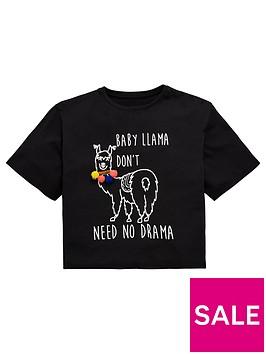 v-by-very-girls-pom-pom-llama-t-shirt-black