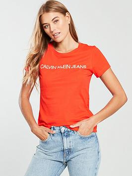 Calvin Klein Jeans Institutional Logo T-Shirt - Pumpkin Red