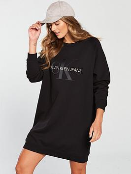 Calvin Klein Jeans Monogram Sweat Dress - Black