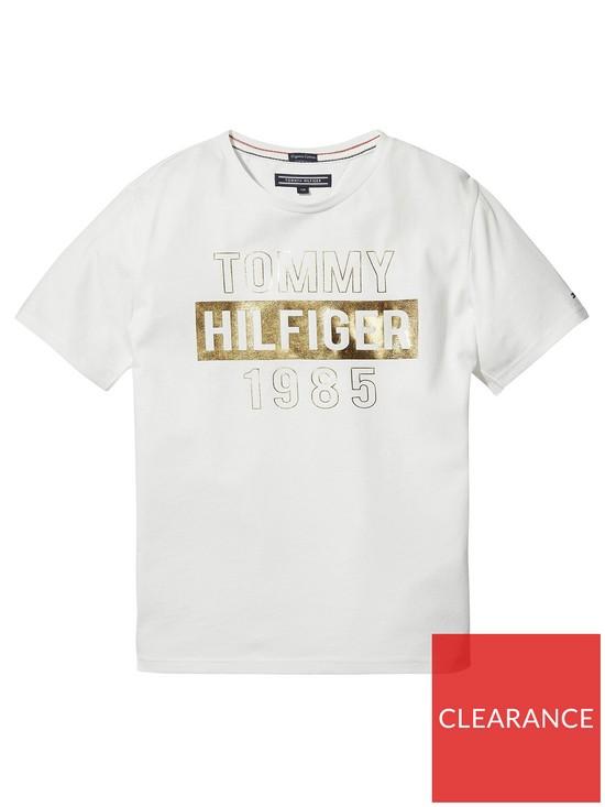 7fba797e2 Tommy Hilfiger Girls Foil Print Short Sleeve T-Shirt - White | very ...