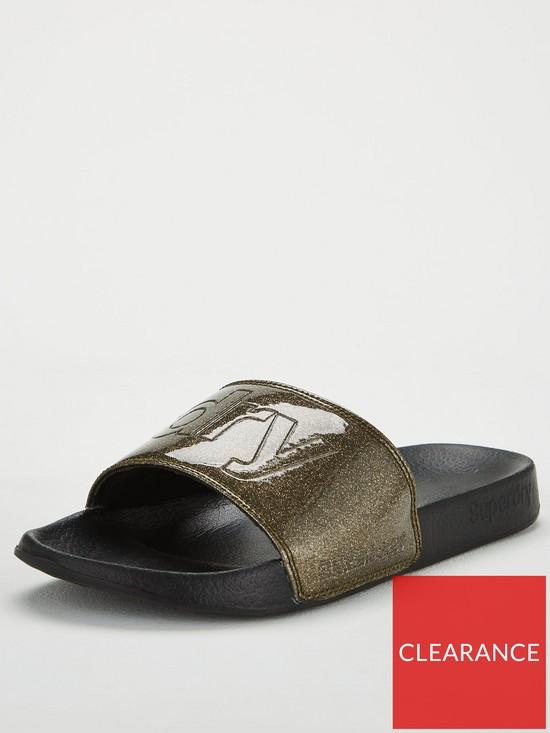 98fae8705a79b Superdry Pool Slide Flat Sandal - Black Pewter