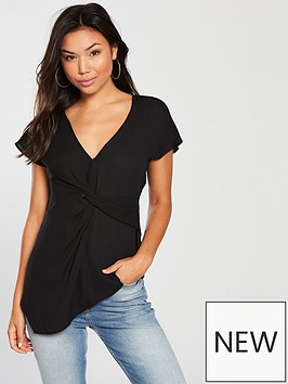 v-by-very-twist-front-top-black