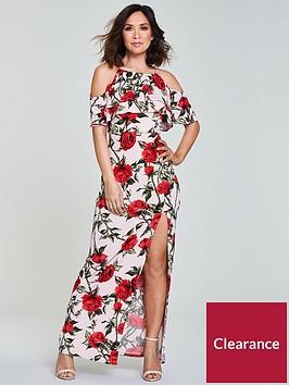 myleene-klass-ruffle-front-maxi-dress-pinkprintnbsp