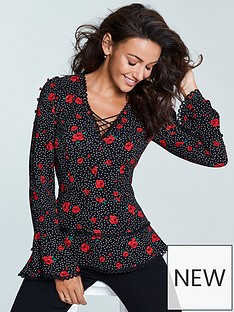 michelle-keegan-button-detail-premium-peplum-blouse-printed