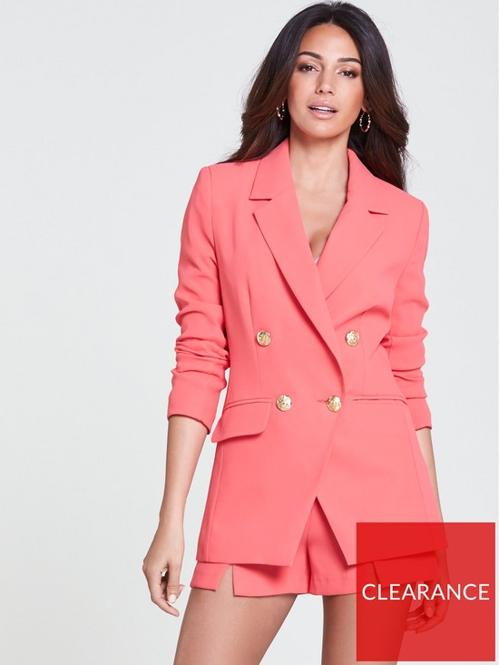 cb5b8004cd5b6 Michelle Keegan Gold Button Double Breasted Blazer - Coral