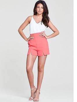michelle-keegan-high-waisted-split-front-short-coral
