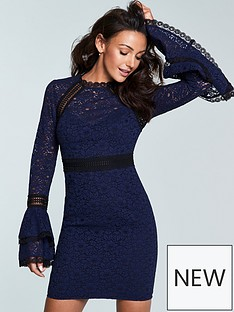 michelle-keegan-premium-lace-exaggerated-sleeve-bodyconnbsp--navy