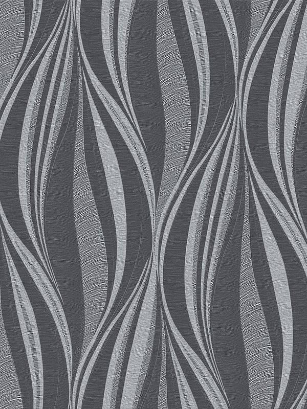 Tango Charcoal Silver Wallpaper
