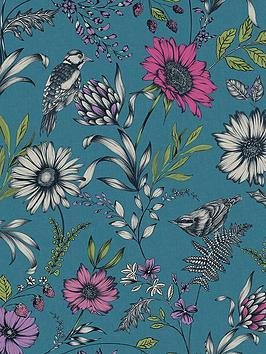 arthouse-botanical-songbird-wallpaper-teal