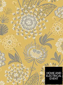 arthouse-vintage-bloom-wallpaper--nbspmustard-yellownbsp