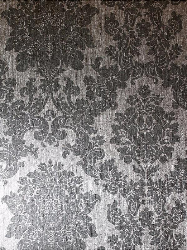 Foil Damask Silver Wallpaper