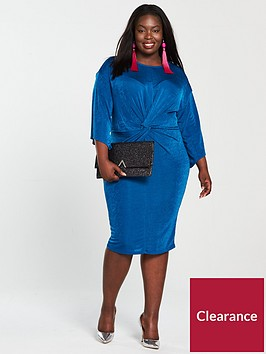 v-by-very-curve-slinky-knot-front-dress-cobalt-blue