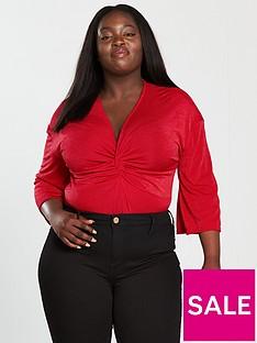 v-by-very-curve-knot-front-slinky-bodysuit-red