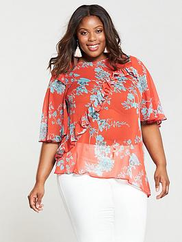 V By Very Curve Asymmetric Printed Blouse - Red