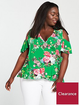 v-by-very-curve-cold-shoulder-printed-top-green
