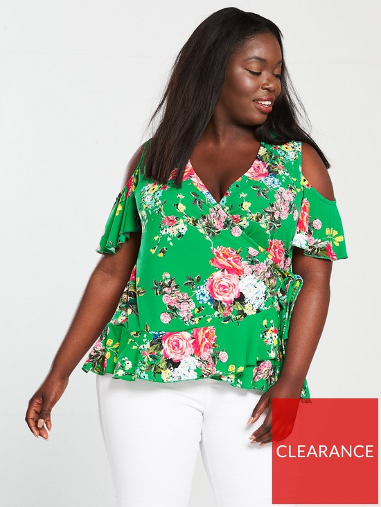 1516eaaae355ed V by Very Curve Cold Shoulder Printed Top - Green
