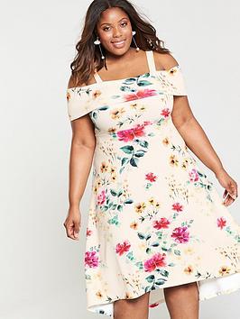 V By Very Curve Bardot Dipped Hem Dress - Floral Print