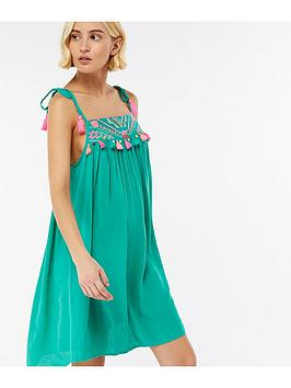 Accessorize Aztec Embroidered Dress - Green