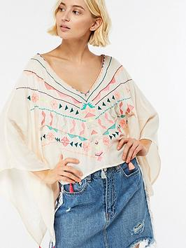Accessorize Aztec Embroidered Cropped Kaftan - Multi