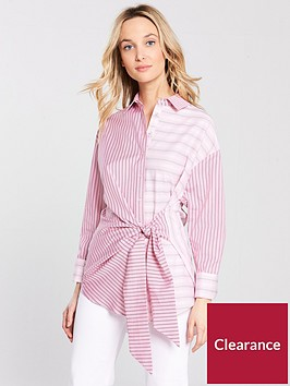 river-island-river-island-stripe-knot-front-shirt--pink