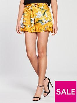 river-island-floral-soft-shorts--mustard