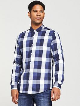 v-by-very-regular-fit-long-sleeved-buffalo-check-shirt