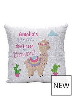 personalised-iridescent-sequin-llama-drama-cushion
