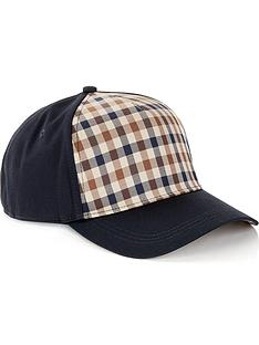 aquascutum-mens-kiril-club-check-front-cap-navy