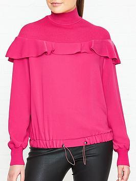sportmax-code-davide-rib-neck-ruffle-blouse-pink