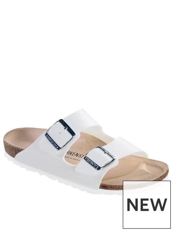 7708b170c3edc Birkenstock Arizona Narrow Two Strap Slide Sandal - White | very.co.uk