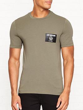 love-moschino-peace-logo-badge-slim-fit-t-shirt-khaki