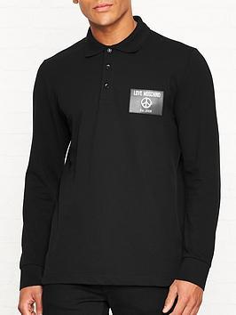 love-moschino-peace-sign-badge-long-sleeve-polo-shirt-black