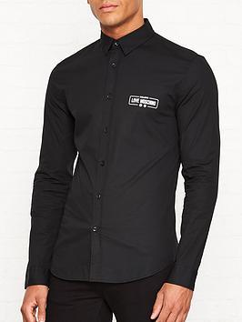 love-moschino-logo-detail-slim-fit-shirt-black