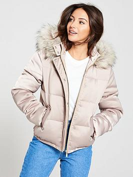 michelle-keegan-short-padded-coat-champagne