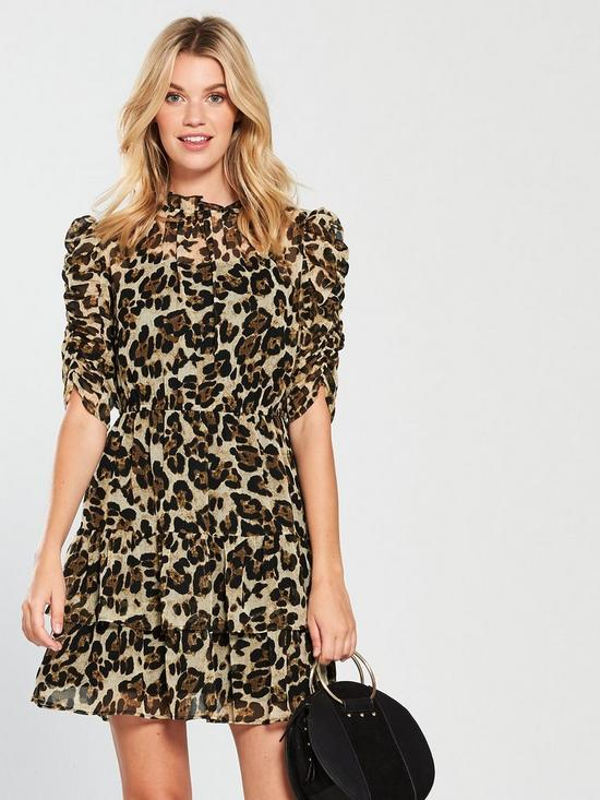 562d2fce5109 V by Very Ruched Sleeve Frill Tea Dress - Leopard Print